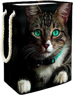 Vockgeng Panier à Linge bébé Chat aux Yeux Verts Panier de Rangement imperméable Pliable de Jouets de Jouets de Panier ave...