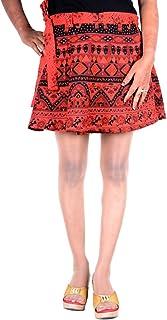 Sttoffa Boho Gypsy Short Dress Mini Short Skirt Free Size Rapron Skirt Red