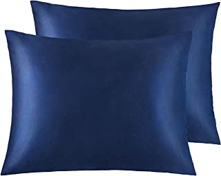 NTBAY Zippered Satin Pillowcases, Super Soft and Luxury Standard Pillow Cases Set of 2, 20 x 26 Inches, Navy Blue