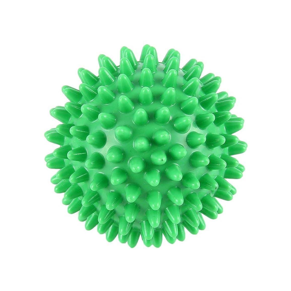 手荷物一定味付けPVC高密度スパイクマッサージボール足の痛み&足底筋膜炎緩和剤トリートメントハリネズミボールマッサージ指圧ボール(色:緑)(サイズ:6cm)