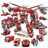 VATOS City Fire Robot Set de construcción - 836 Piezas de Juguetes de construcción 35 en 1 Creative Fire Rescue Engine Vehicles Set Juguetes educativos Regalos para niños de 6 7 8 9 10+ años de Edad