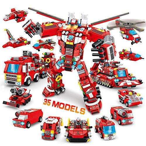 VATOS City Roboter Bausteine - 836 Teile Konstruktionsspielzeug 35 in 1 Kreatives Feuerwehrauto Fahrzeugsatz STEM Pädagogisches Bausteine ab 6 7 8 9 10 Geschenk für Jungen