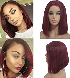 99j Glueless Lace Front Wig Human Hair 14inch Preplucked Bob Wig with Baby Hairs 180% Density Full Thick Dark Wine Red Frontal Wig for Women/Ladies/Girls Middle Part