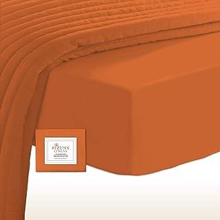Pizuna 400 Fils Au Carré Pouce Coton Drap-Housse 160x200 Orange Brûlée, 100% Coton à Fibres Longues Cache Sommier 160x200 ...