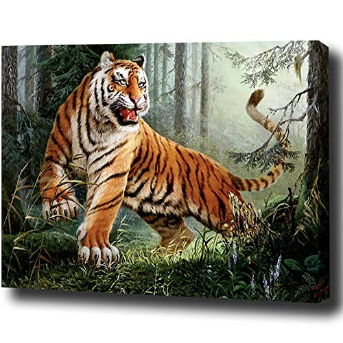 baodanla Frameless olieverf Canvas Oil Ngs The Tiger In The Forest Wall Poster Kleurplaten Ng By Numbers Animal Pictures