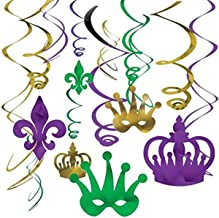 Amscan 679987 Mardi Gras Party Foil Swirl Value Pack Hanging Decorating Kit 12 ct.