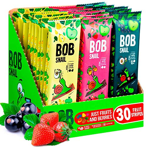 Snacks Variety Pack for Kids Adults - 30 Healthy Fruit Snacks Individual Packs for Kids Adults with Natural Strawberries Blackcurrant Apple and Pear Gluten-Free Vegan Low Carb Fruit Bar No Sugar Added