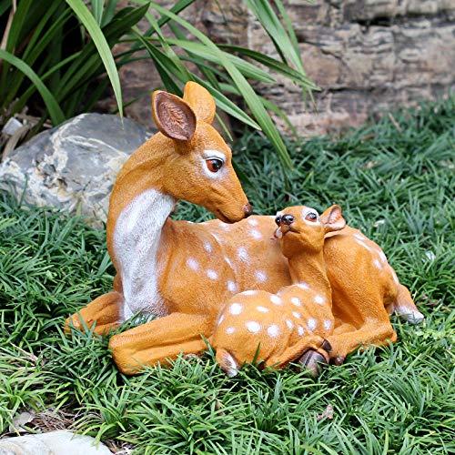 pah-macy Einfach tierfigur Gartendeko Skulptur Tierfigur Aus Wetterfestem Polyresin Dekofigur Gartendekoration Zum Bepflanzen Deko Garten Terrass Im Freien-0,3 m großes weibliches REH