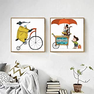 LKLKK Estilo Circo Mouse Bicicleta equitación Sombrero Mono Lienzo Pintura Lindo niño habitación decoración niño Regalo 40x40cmx2 (sin Marco)