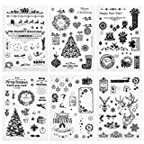 Naler 6 Sellos de Silicona Navidad Sellos de Silicona Transparentes para Scrapbooking, Tarjetas, Álbumes de Recortes, Manualidades