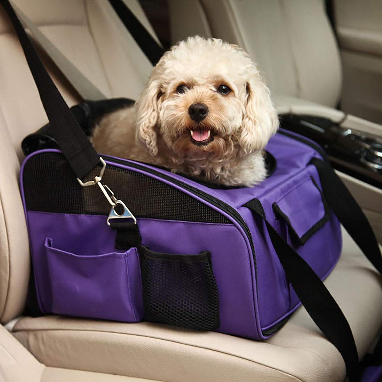 HUAyue Pet Car Bag Kennel Car Bag Out Pet Bag Pet Dog Backpack Car Dog Mat,Pet Paraphernalia (color   Purple, Size   40X34X26cm)