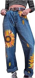 Women Casual Slim Jeans Autumn Winter Mid Waist Sunflowers Print Slim Pants Length Jeans Women Trendy Denim Pants