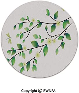 Quality Well Woven Barclay Round Area Rugs,Leaves with Little Dragonflies and Jasmine Environmental Botanical Illustration 2' Diameter Green White,for Kids Room Bedroom Kitchen