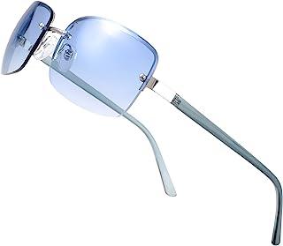 Minimalist Semi-rimless Rectangular Sunglasses for Men Women - Exquisite Packaging