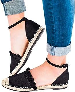 [洋子ちゃん_] レディース サンダル 綺麗 女性 おしゃれ 春夏 亜麻 わらワードバックルフラット サンダル 大きいサイズ 靴 履きやすい レディース