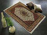 BADOHI BIDJAR echter klassischer Orient-Teppich handgeknüpft in creme-beige, Größe: 40x60 cm - 2