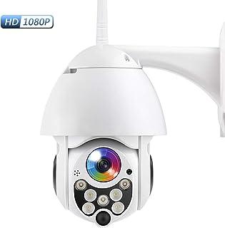 PTZ Camara Vigilancia Camara WiFi Exterior Impermeable IP66 con Audio de Dos Vías Visión Nocturna en Color Detección de Movimiento Notificación de Alarma