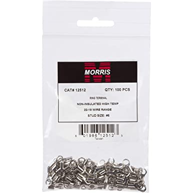 Morris Products 11062 Ring Terminal 1//4 Stud Size Non Insulated Pack of 100 12-10 Wire Size