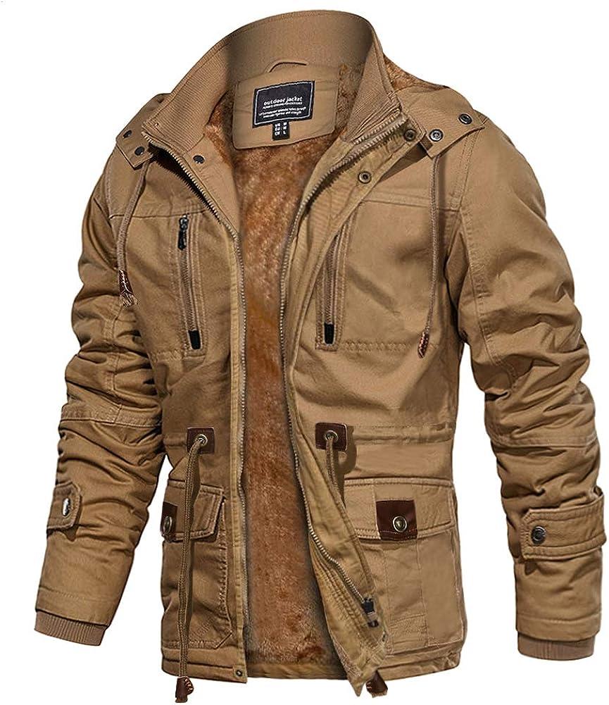 EKLENTSON Men's Winter Thermal Thicken Jacket Fleece Cargo Very Max 42% OFF popular Lined