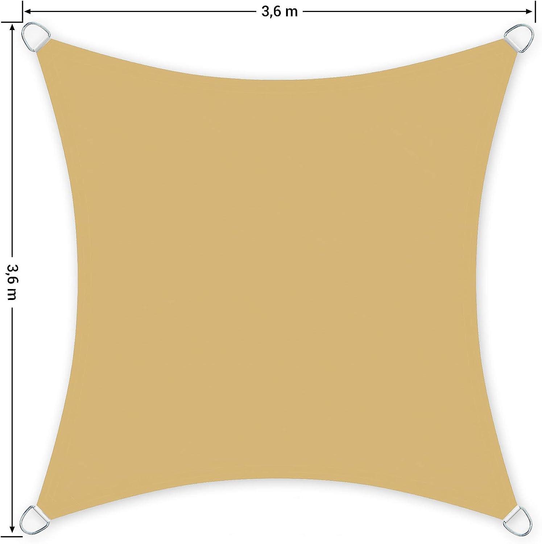SONGMICS 3,6 x 3,6 m Voile d/'ombrage Jardin en Polyester r/ésistant /à la d/échirure r/ésistant aux intemp/éries Camping Hydrofuge Sable GSH36EY 93/% de Protection UV pour terrasse