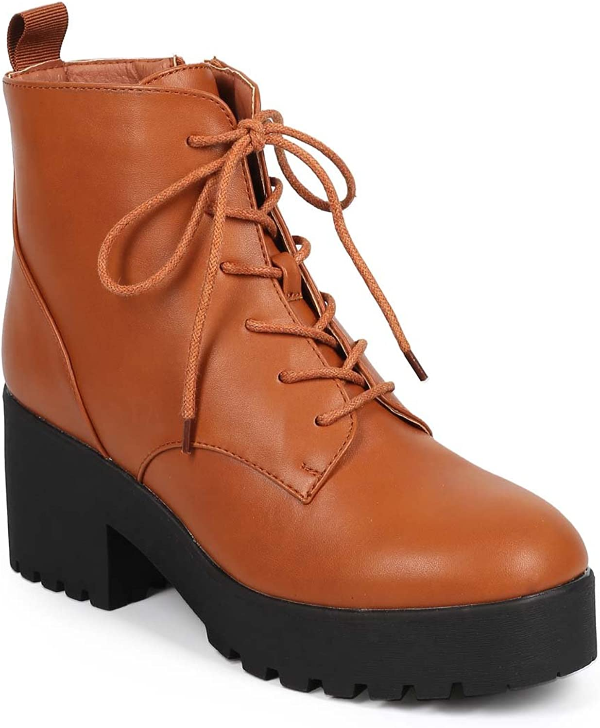 Wild Diva DB28 Women Leatherette Lug Sole Chunky Heel Lace Up Combat Boot - Whiskey