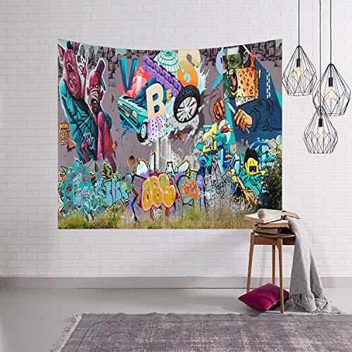 Tapicería de la pared, pintada de colores Hippie Tapiz colgante de pared de monstruos y de coches, rectangular grande Tela decoración del arte for la sala de estar Dormitorio ( Size : 150×130cm )