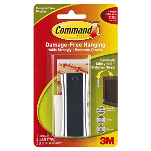 Command Universal Metal Picture Hanger, Holds 2.2 kg, No Drilling, Holds Strong, No Wall Damage (1 Hanger, 2 Strips)