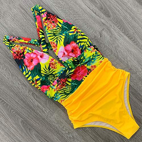 SJIUH Traje de Bikini Sexy One Piece Swimsuit Female Floral Women Swimwear Push Up Bathing Suits Bodysuits Beach Wear Deep V-Neck Ruffle,CU19380Y1,M