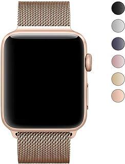 MEET RADE For apple watch バンド 磁気ミラネーゼループ アップルウォッチバンド アップルウォッチ1 apple watch series 2 apple watch series 3 ステンレススチールメッシュループ留め金製交換 ついている マグネット開閉式調節可能 シリーズ 3 (38MM, 黄金)