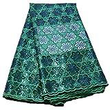 África Tela Tela Encaje Lentejuelas cordón Africano de Nigeria Tela de Encaje Encaje de Tul for la Mujer Vestido de Fiesta Tela de Encaje (Color : Green, Size : 5 Yards)
