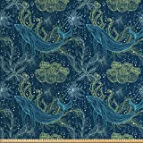 ABAKUHAUS Wal Stoff als Meterware, Meeresfauna und Flora,