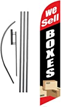We Sell Boxes Advertising Feather Banner Swooper Flag Sign with 15 Foot Flag Pole Kit and Ground Stake, Red and Black