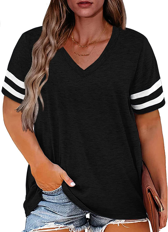 Women Plus Size Tops Summer Blouses V Neck Short Sleeve Loose Knits Tees Henleys T Shirts