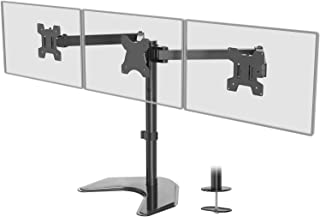 WALI Free Standing Triple LCD Monitor Fully Adjustable Desk Mount Fits 3 Screens up to 24 inch, 22 lbs. Weight Capacity pe...