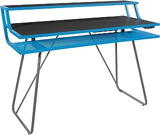 OSP Home Furnishings Glitch Battlestation Gaming Desk, Blue