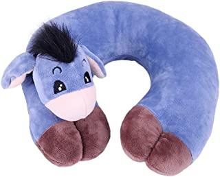 MagiDeal Fashion Cartoon Animal Travel Pillow Neck Support Pillow for Office Napping, Camping, Airplane, Bus, Train - Ergonomic and Washable - Donkey