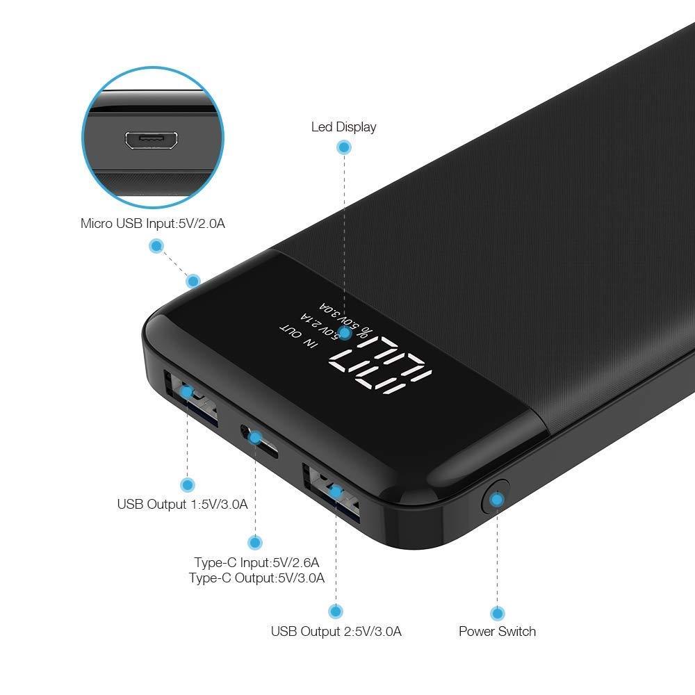 Charmast Batería Externa 10400mAh Power Bank USB C Cargador ...