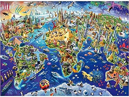 Y-fodoro Rompecabezas de madera para adultos, 1000 piezas de dibujos animados animados, creatividad, alivio del estrés, juego educativo de regalo de cumpleaños, mapa del mundo