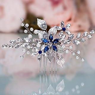 YERTTER Blue Crystal Hair Comb Bridal Vintage Pearl Headpiece Women Leaf Hair Comb Bridal Hair Comb Wedding Hair Piece Wed...
