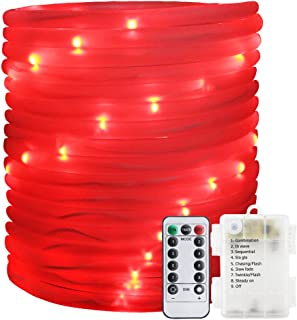 ER CHEN Remote&Timer Battery Powered Rope Lights,33FT 100 LED Warterproof Indoor&Outdoor Portable Rope String Lights for Christmas Tree, Wedding, Thanksgiving, Party, Garden, Patio(Red)