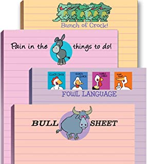 Funny Adult Note Pad Assorted Pack – 4 Novelty Notepads – Funny Office Supplies