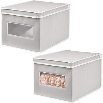 mDesign Juego de 2 Cajas de Tela – Práctico Organizador de armarios con Tapa para Dormitorio, salón o baño – Caja de almacenaje apilable de Fibra sintética Transpirable – Gris Claro/Blanco: Amazon.es: Hogar