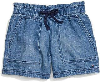 Tommy Hilfiger Girls' Adaptive Denim Shorts with Elastic Waistband, Oregano WASH