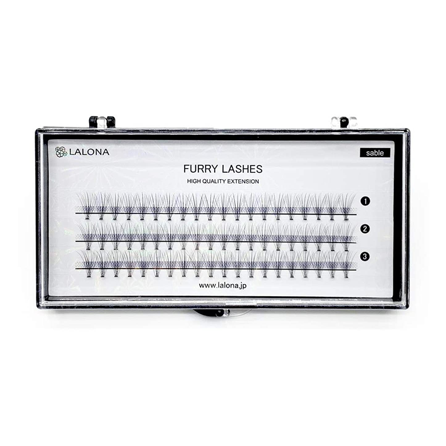 溶かす冷蔵する繊維LALONA [ ラローナ ] ファーリーラッシュ (10D) (60pcs) まつげエクステ 10本束 フレアラッシュ まつエク マツエク 束まつげ セーブル (0.05 / 10mm)