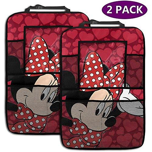 W-wishes Organisateur de Voiture de siège arrière - Accessoires de Voiture Minnie Mouse Rouge, protège-siège arrière Kick Mats avec Support de Tablette accru