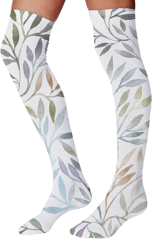 Men's and Women's Fun Socks,Watercolor Floral Pattern Composition Vintage Brush Mark Pastel Foliage Illustration