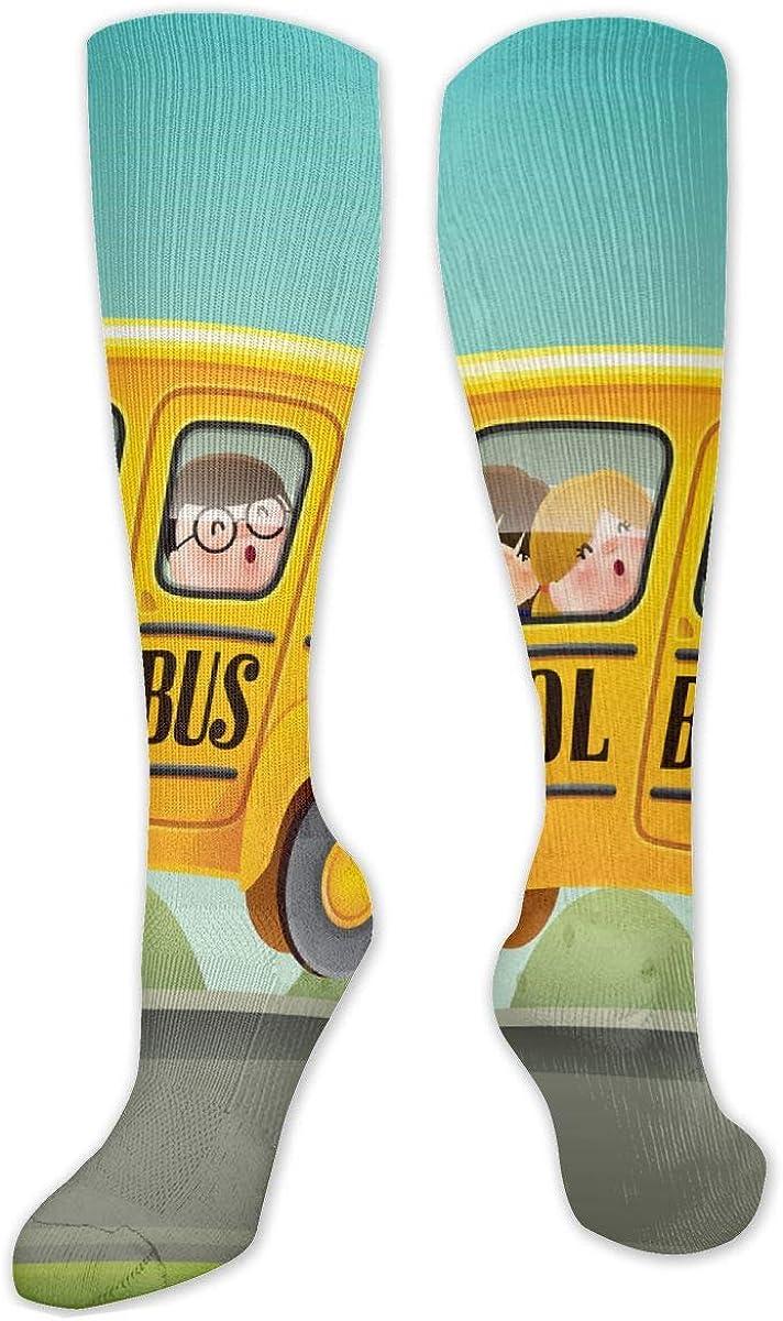 Cartoon School Bus Knee High Socks Leg Warmer Dresses Long Boot Stockings For Womens Cosplay Daily Wear