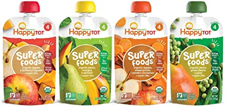 Happy Tot Organic Stage 4 Super Foods Variety Pack, 4.22 Ounce Pouch (Pack of 16) Green..