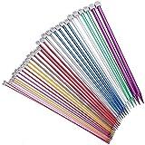 Fashion SHOP Ganchillos 2pcs / Set de 35 cm en un Solo Punto Agujas de Tejer alfileres 2.0-12mm Aluminio DIY Weaving Herramienta suéter Largo de la Bufanda de la Aguja (Color : Random Color 7mm)