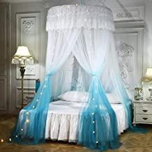 Mengersi Princess Bed Canopy Romantic Round Dome Bed Curtains Mosquito Net for King Queen Full Twin Size Bed(Round Canopy, Blue and White)